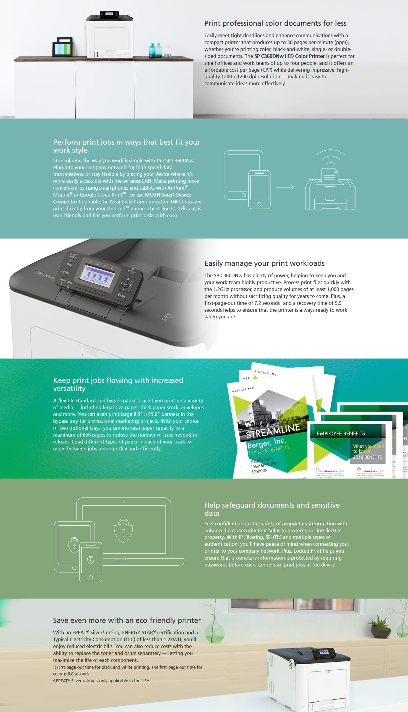 Savin SP C360DNw Color LED Printer 6