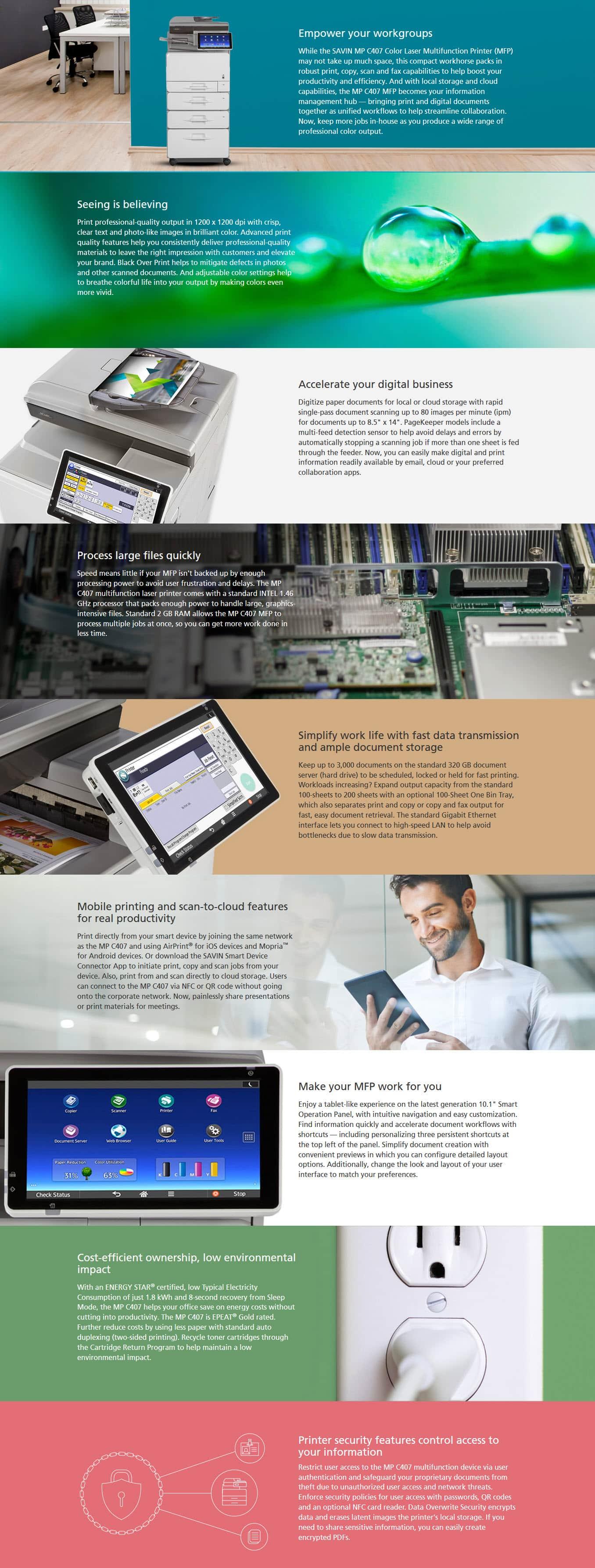 Savin MP C407 Color Laser Multifunction Printer 6