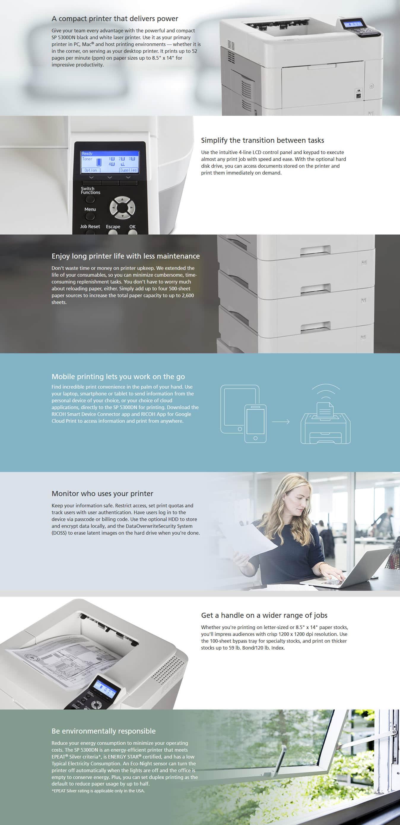 Savin SP 5300DN Black and White Laser Printer 6