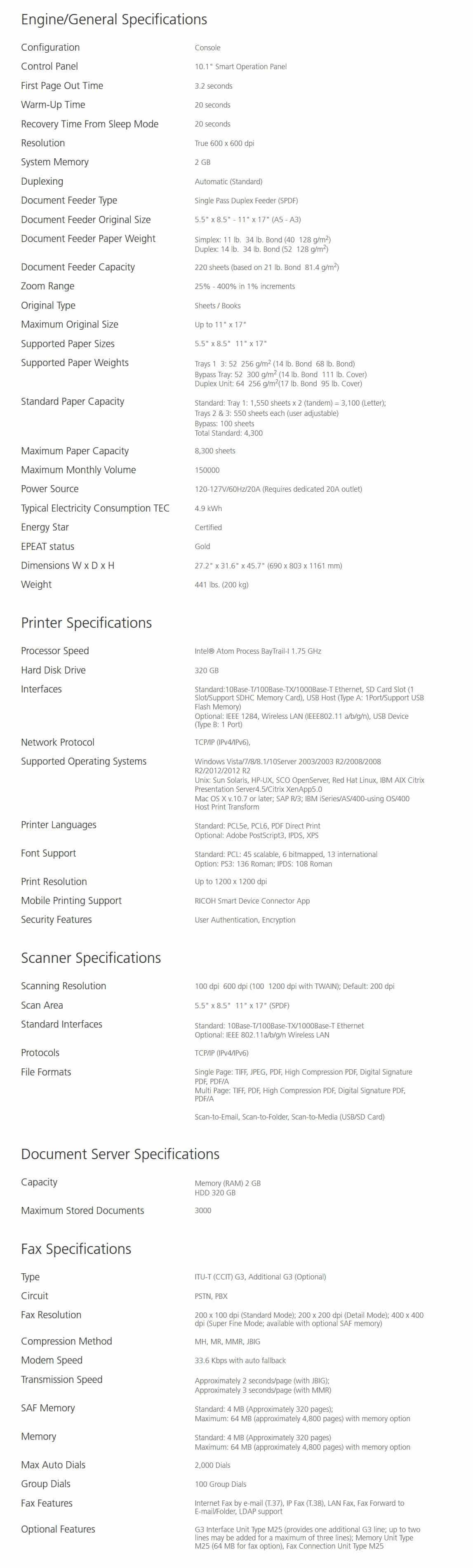 Savin MP 6503 Black and White Laser Multifunction Printer 7