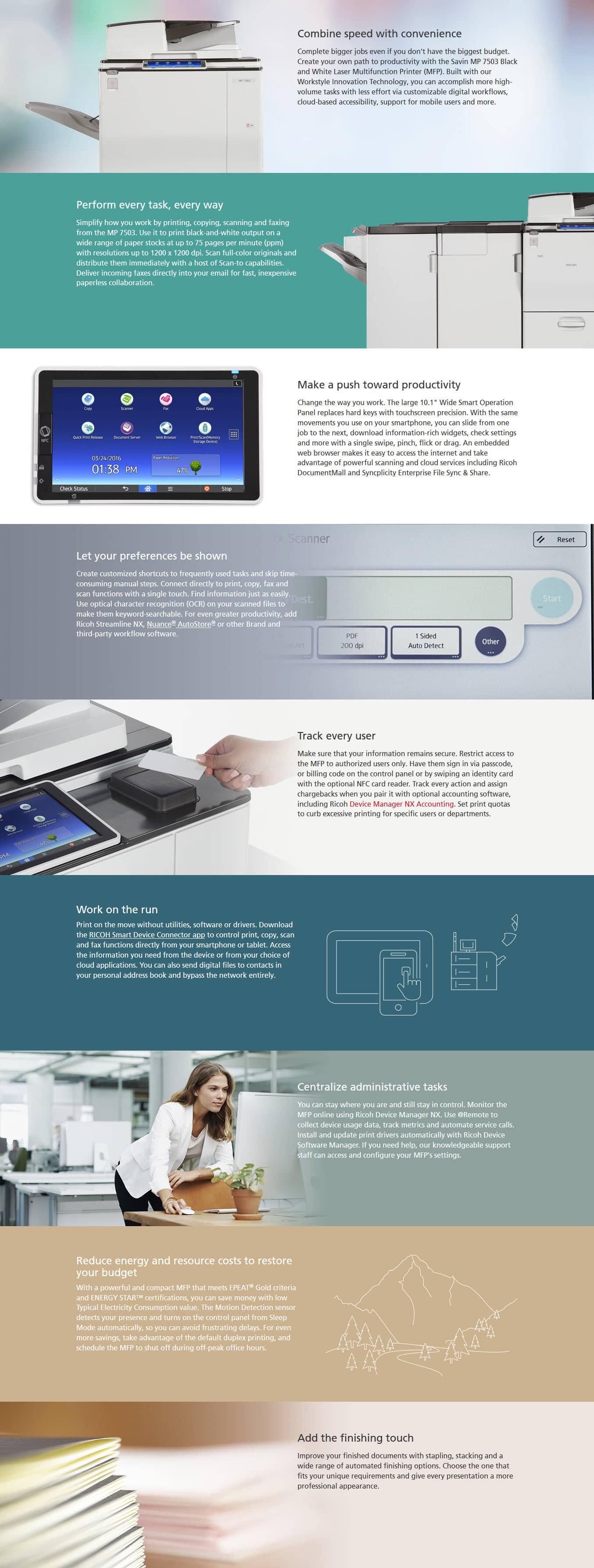 Savin MP 7503 Black and White Laser Multifunction Printer 6