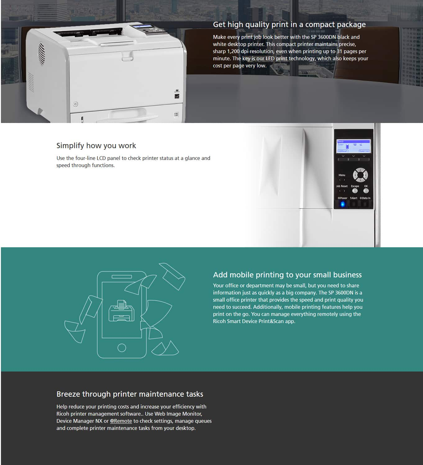 Savin SP 3600DN Black and White Printer - Magee Office