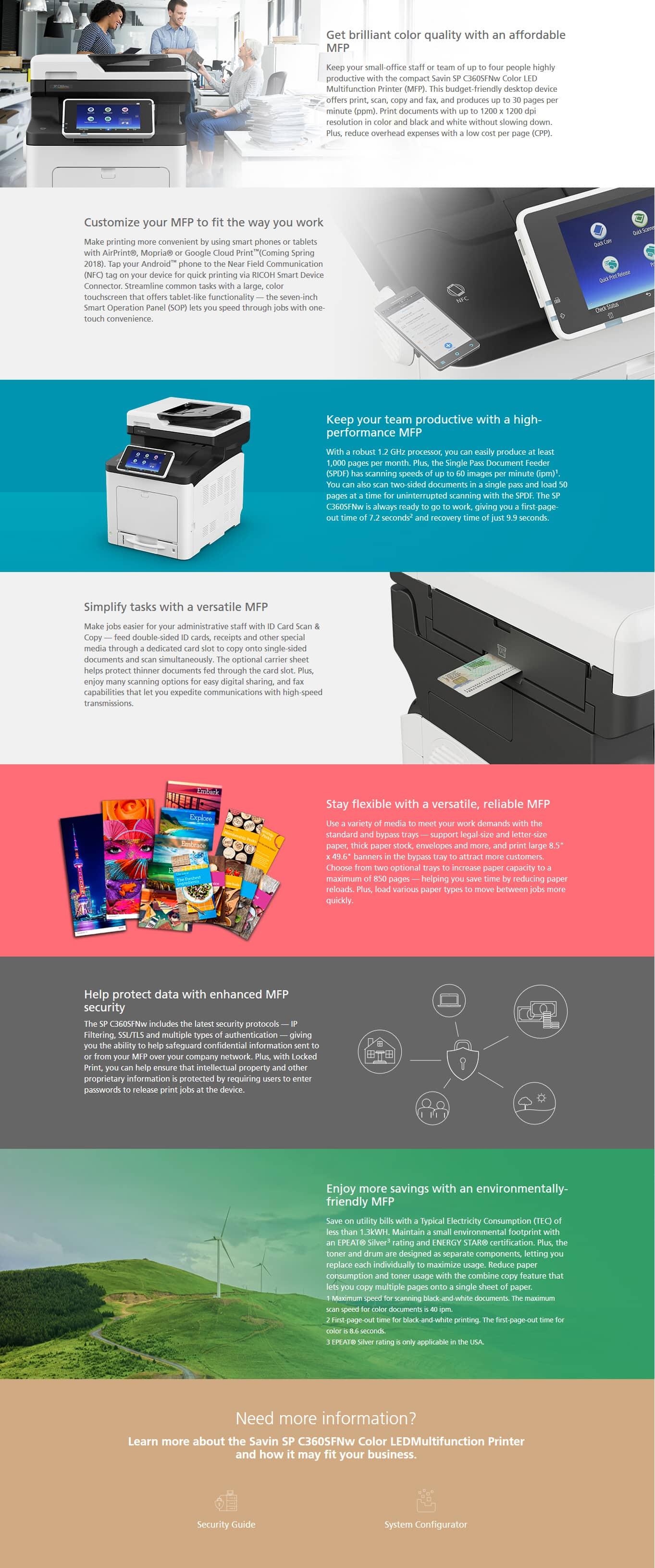 Savin SP C360SFNw Color LED Multifunction Printer 6