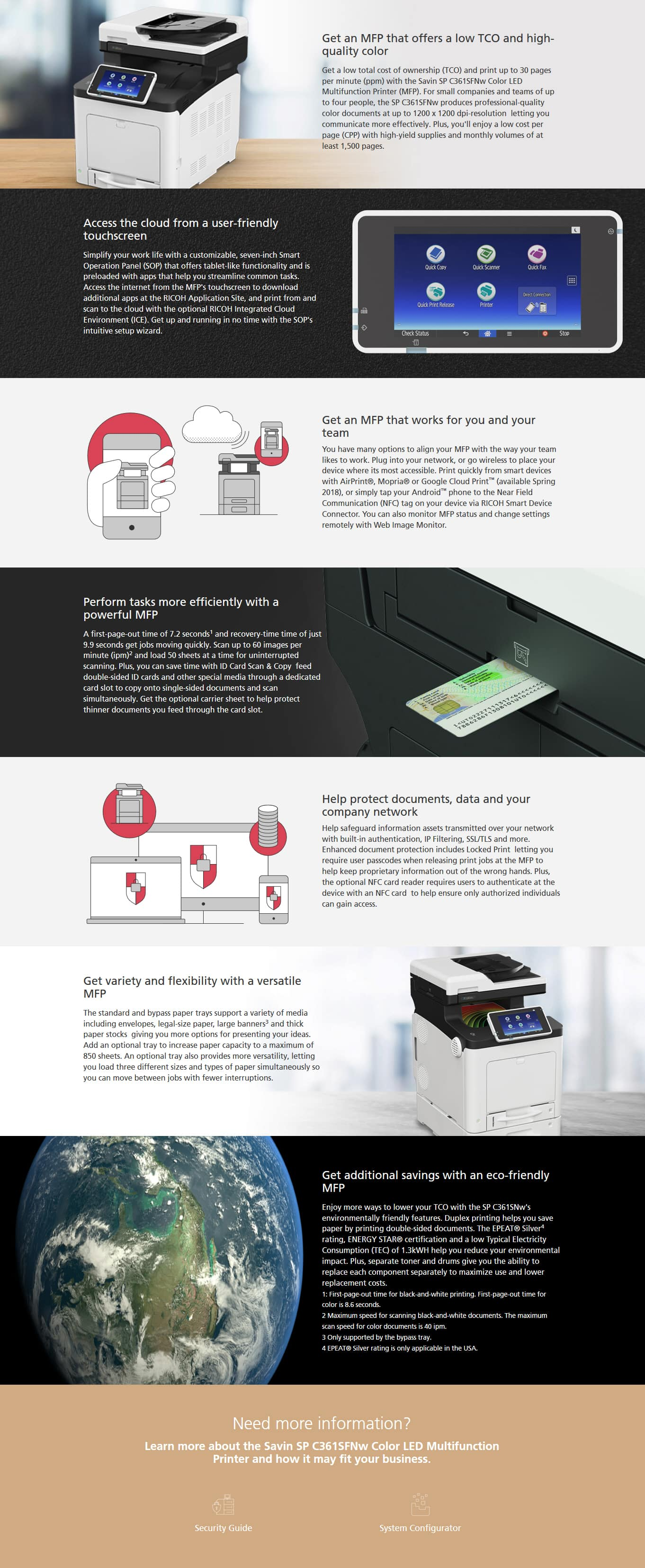 Savin SP C361SFNw Color LED Multifunction Printer 6